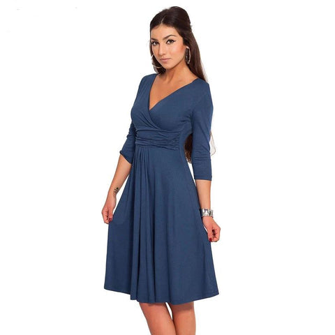 Casual Dress For Women  Half Sleeve Work Dress Elegant Fashion Sexy Colorful Midi Pleated Dresses Vestidos