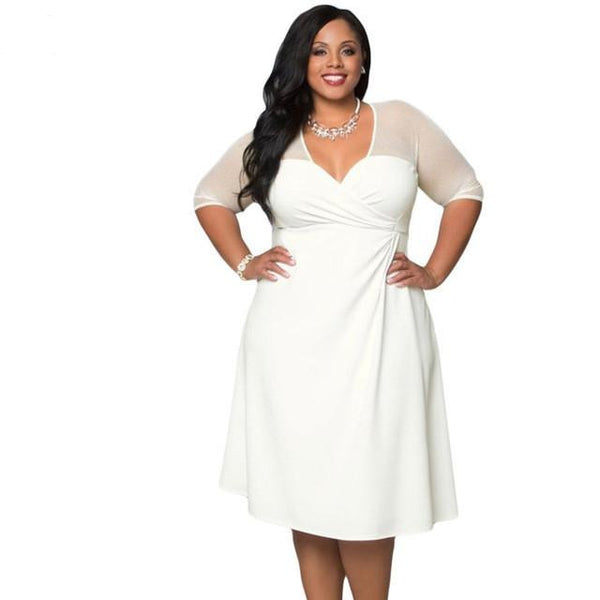 Plus size v-neck dress with half sleeves, party dress and comes in white. - eileenshoppingdeals