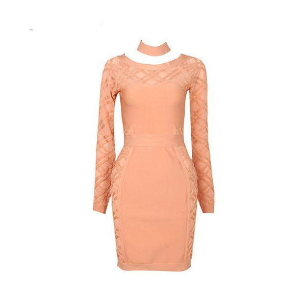 PEACH BANDAGE AND MESH DRESS WITH NECK PIECE ELEGANT - eileenshoppingdeals