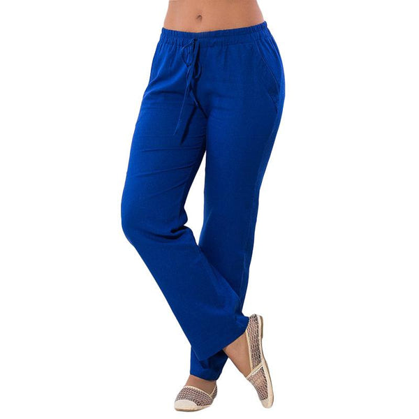 Summer Women Pants New Spring Casual Chiffon Long Loose Pants Blue Solid Color - eileenshoppingdeals