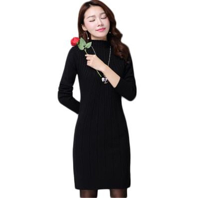 New Autumn Winter Women Sweater Dresses Long Sleeve Thick Warm Knitted Dress - eileenshoppingdeals