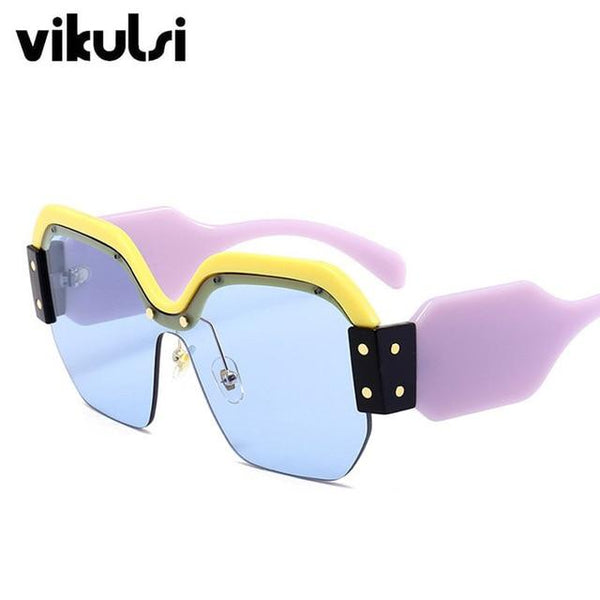 Red Pink Luxury Brand Sun Glasses For Female Rivet Big Frame Male Shades - eileenshoppingdeals
