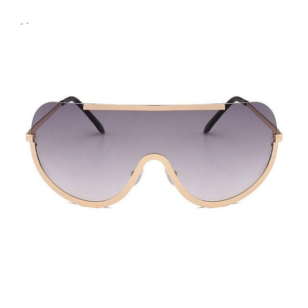 Unique Alloy Half Frame Men Goggles Sunglasses Women Rimless Sun Glasses Oversized Clear Lens Big Size Shades Lunettes Female - eileenshoppingdeals