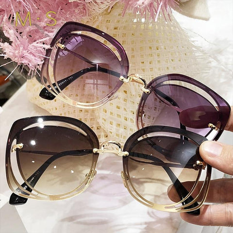 MS 2018 Women Luxury  Classic Eyewear Female Sunglasses Original Brand Designer Sunglasses Pierced Sun Glasses Fashion  UV400 - eileenshoppingdeals
