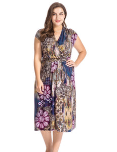 Chicwe Women's Plus Size Floral Printed Dress Cap Sleeves with Waist Belt - eileenshoppingdeals