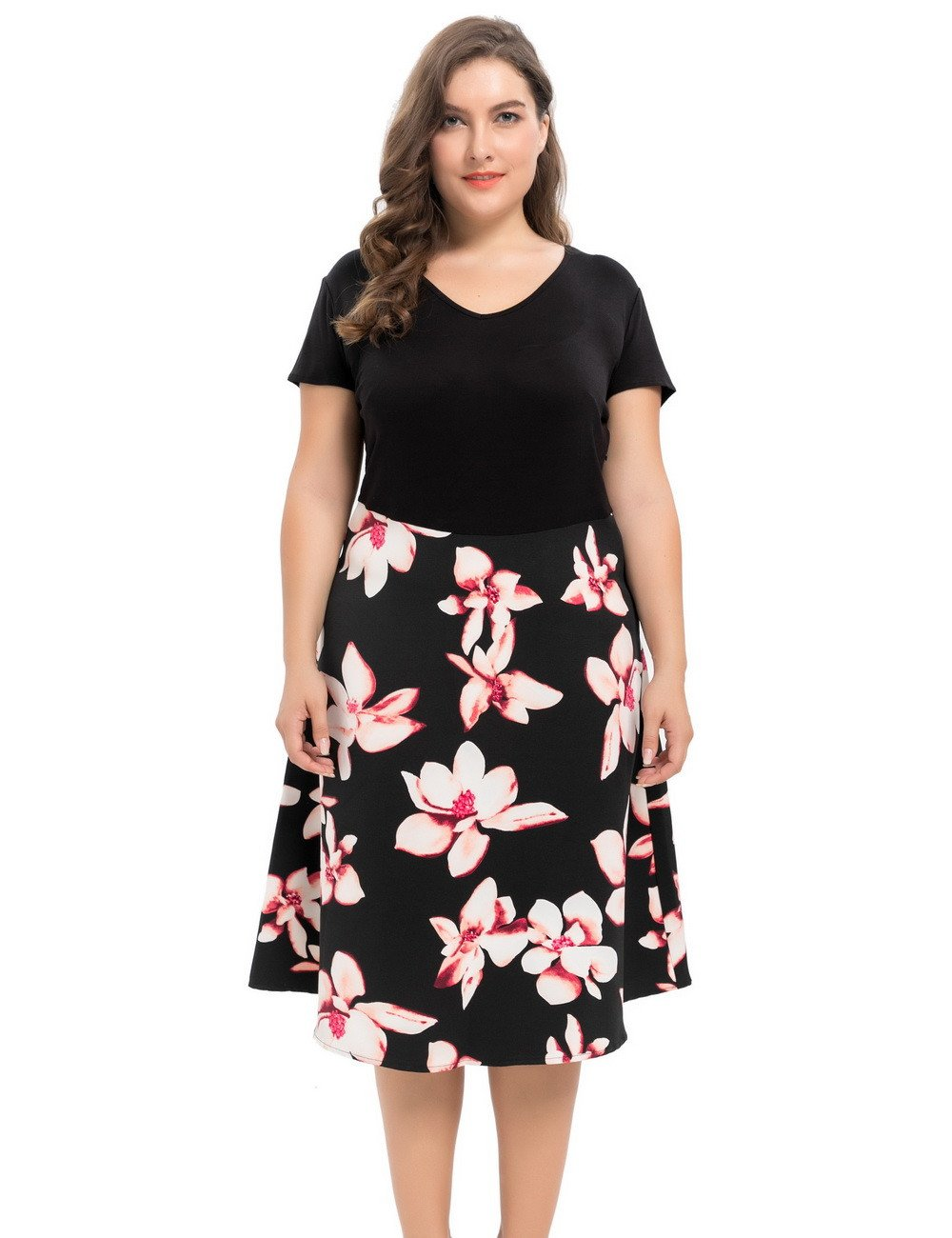 Chicwe Women's Vintage Style Plus Size Floral Printed Dress 1X-4X - eileenshoppingdeals