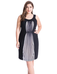 Women's Plus Size Dress with Chiffon Pleated Panel Sleeveless Scoop Neck 1X-4X - eileenshoppingdeals