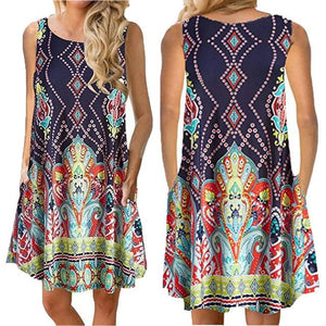 Plus Size Sleeveless Summer  Mini Dress - eileenshoppingdeals