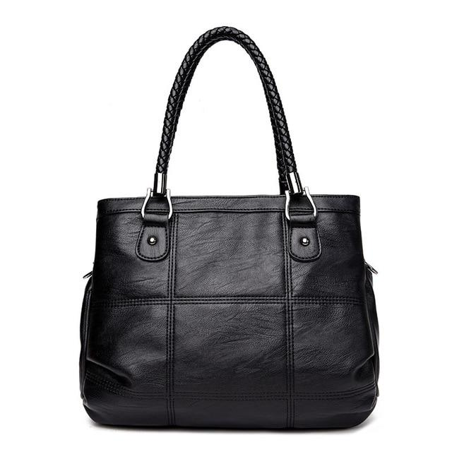 Ladies Hand Bag Women's Genuine Leather, Black Leather Tote Bag - eileenshoppingdeals