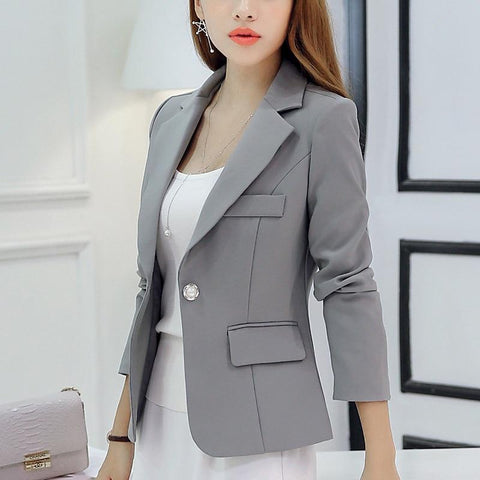 Brand Spring Autumn Slim Fit Women Formal Jackets, Coat Grey Black Fashion - eileenshoppingdeals