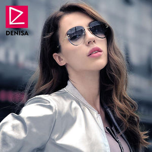 DENISA Fashion Blue Red Aviation Sunglasses Women Men Driving UV400 Sun Glasses Clear Vintage Glasses zonnebril dames G18475