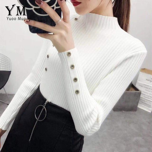 YuooMuoo Turtleneck Autumn Winter Women Sweater Button Design Long Sleeve Pullover Jumper Women Sweater Knitted Top Pull Femme - eileenshoppingdeals