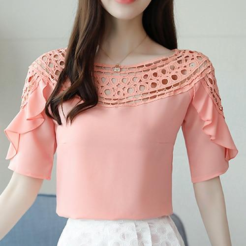 Women Tops And Blouses Pink, Blue, White Hollow Out Ruffles Short Sleeve - eileenshoppingdeals