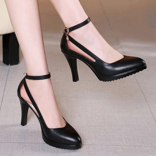 Lady  Buckle Strap Platform High Heels  Shoes Four Season Leather Shoes - eileenshoppingdeals