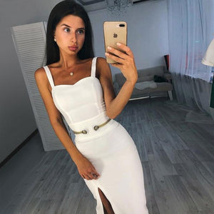 Ocstrade New Year's Party 2019 Woman's Vestidos Midi Bandage Dress Spaghetti Straps Side Split Sexy White Bandage Dress Bodycon