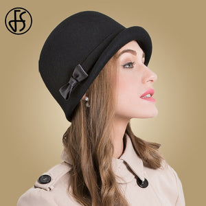 100% Wool Felt Black Hat Women - eileenshoppingdeals
