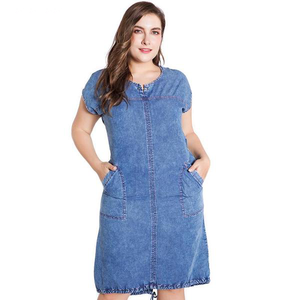 ladies Plus Size denim dress with  Round Neck Pockets   4xl 5xl 6xl Large Size - eileenshoppingdeals
