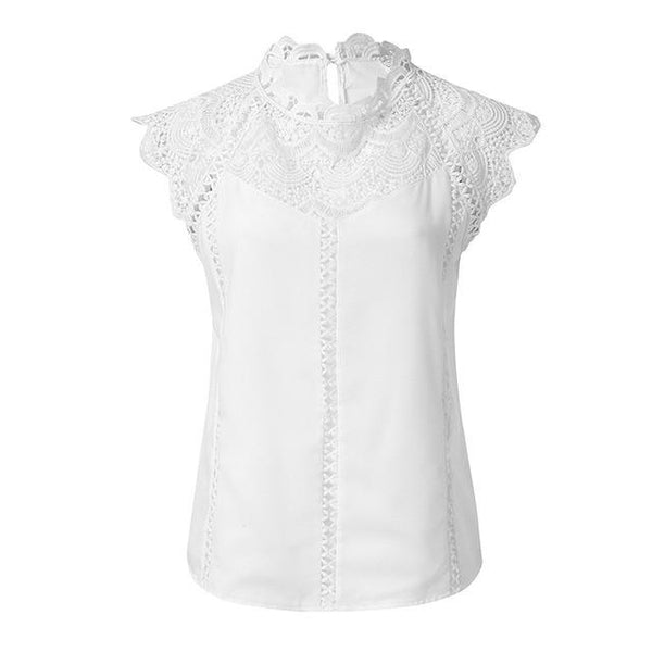 Summer 2019 Women's Tops And Blouses Lace Patchwork Sleeveless M