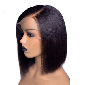 Kinky Straight 13x6 Lace Front Human Hair Wigs For Women 130% Density Coarse, Brazilian Short Bob Wig Natural Color