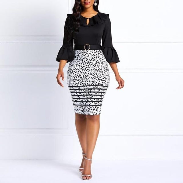 Women Midi dress,Blue bodycon with flare sleeves for office, plus size