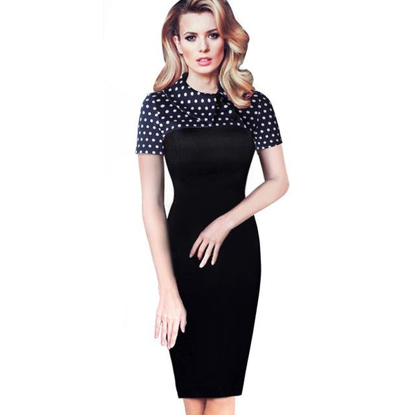 Nice-forever Elegant Vintage Fitted winter dress full Sleeve Patchwork  Pencil Dress - eileenshoppingdeals
