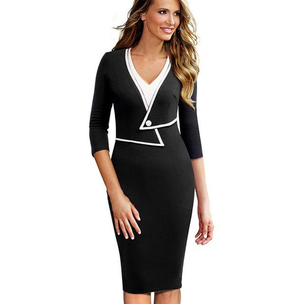 Nice-forever Vintage 3/4 Sleeve Contrast Patchwork V Neck Faux Fold Button vestidos Business Work Bodycon Women Dress B413 - eileenshoppingdeals