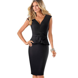 Nice-forever Vintage Sexy V neck with Zipper Wear to Work Ruffle vestidos Bodycon Office Business Sheath Women Dress B437 - eileenshoppingdeals