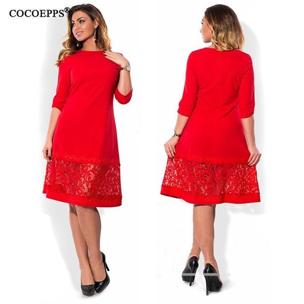 -6XL elegant blue women dress big sizes Autumn o-neck loose dresses plus size Knee-Length dress black red casual dress