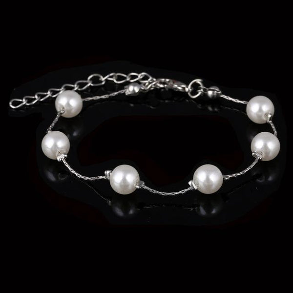 Brand New Imitation Pearl Bracelet Women Fashion Gold Silver Color Chain Crystal Bracelet  Adjustable - eileenshoppingdeals