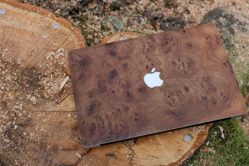 Carpathian Elm Burl Real Wood MacBook Skin