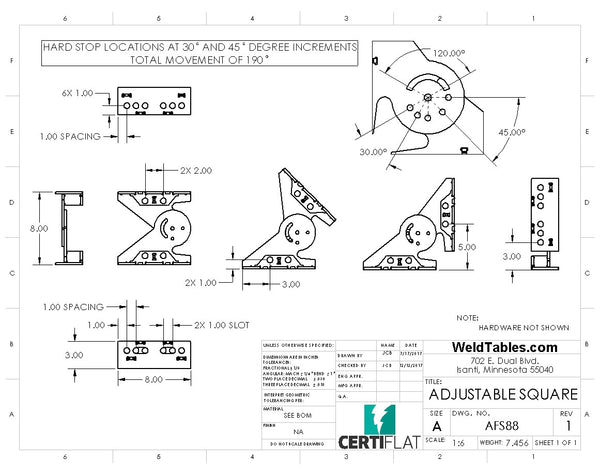 "CertiFlat 8""X8""X3"" Adjustable FabSquare"