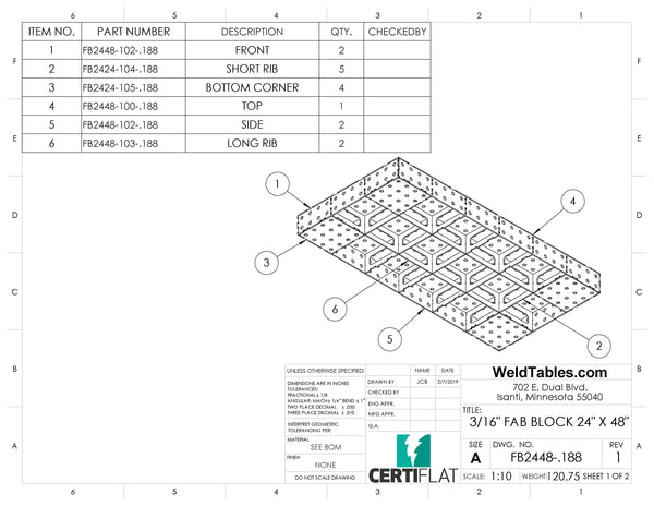 "Mini-Block 24""x48"" 3/16"" Thick FabBlock FB2448-.188 Weld Table by CertiFlat - FabBlock ONLY"