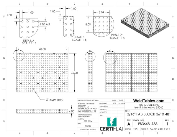 "Mini-Block 36""x48"" 3/16"" Thick FabBlock FB3648-.188 Weld Table by Certiflat - FabBlock ONLY"
