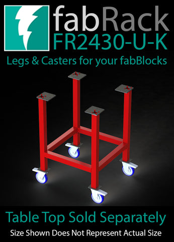 "FR2430-U-K 24""X30"" fabRack CNC Tube Laser Leg Kit with Casters for fabBlocks"