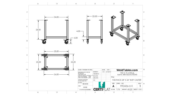 "Certiflat 24""X36"" FabRack with Casters for FabBlock and Mini-FabBlock"