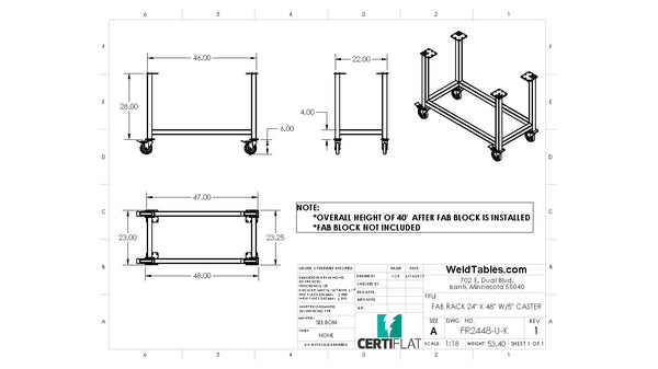 "Certiflat 24""X48"" FabRack with Casters for FabBlock and Mini-FabBlock"