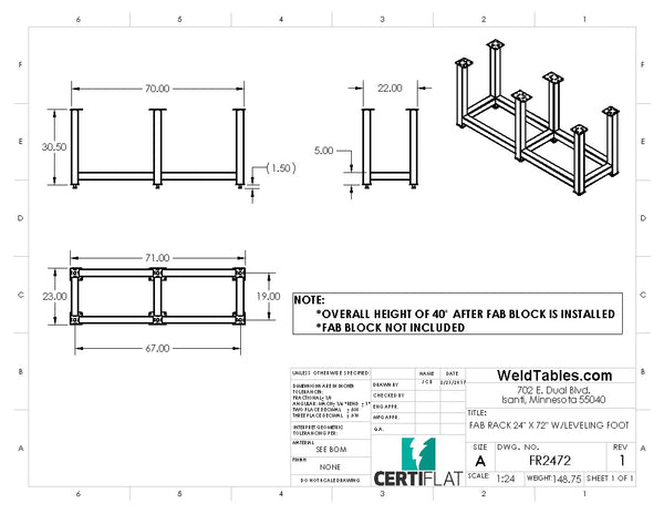 "Certiflat 24""X72"" FabRack for FabBlock"