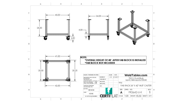 "Certiflat 36""X42"" FabRack for FabBlock"