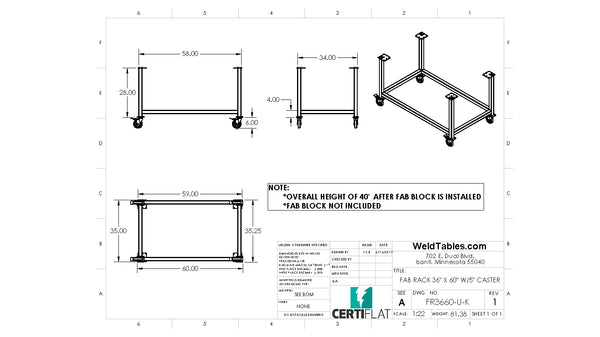 "Certiflat 36""X60"" FabRack with Casters for FabBlock"