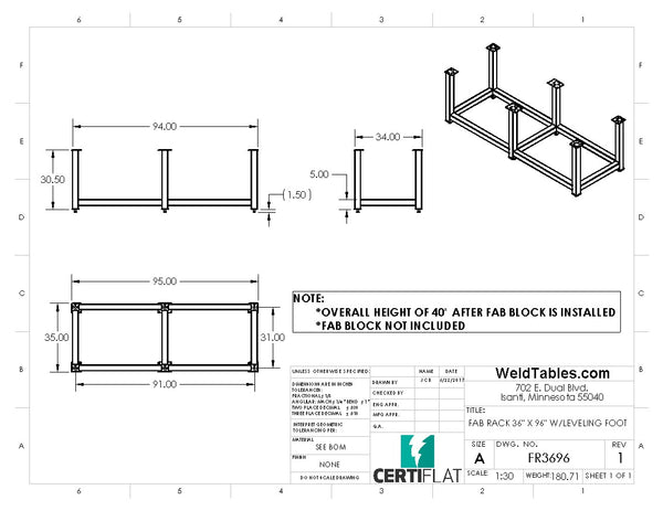 "Certiflat 36""X96"" FabRack for FabBlock"