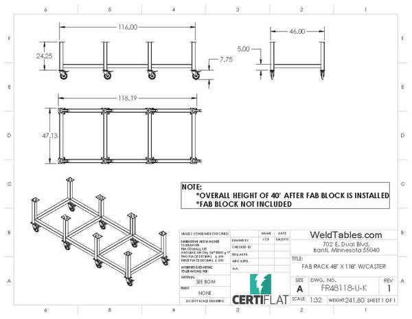 "Certiflat 48""X118"" FabRack with Casters for FabBlock"