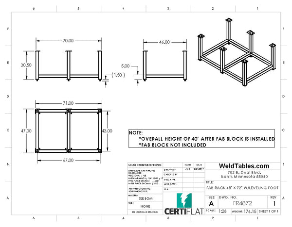 "Certiflat 48""X72"" FabRack for FabBlock"
