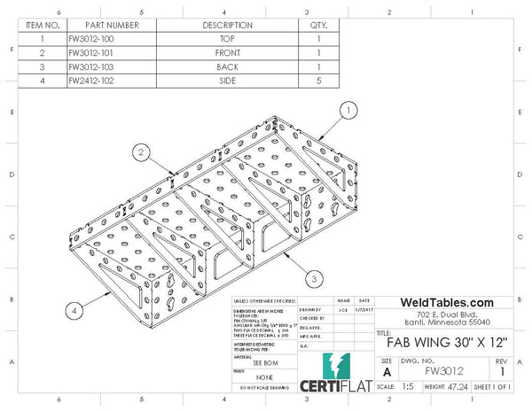 "FW3012-U CertiFlat fabWing 30"" X 12"" Extension Table"