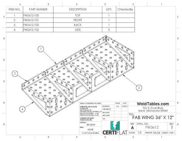"CertiFlat FabWing 36"" X 12"" Table Extension"
