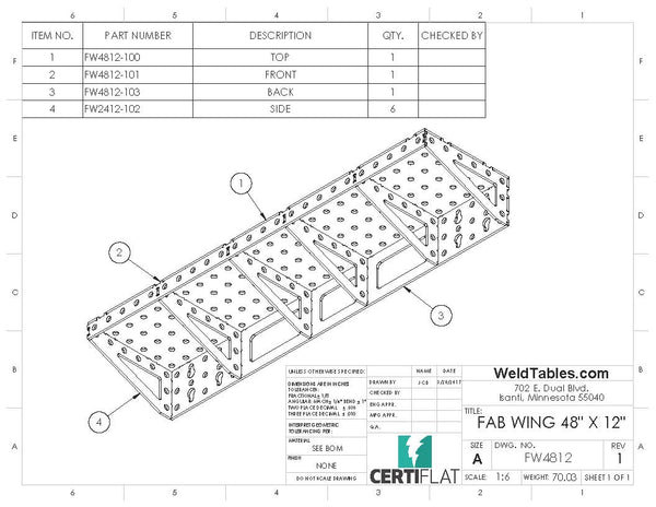 "CertiFlat FabWing 48"" X 12"" Table Extension"