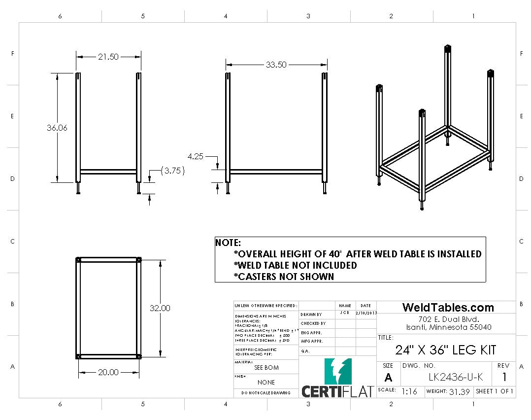 "Certiflat 24""X36"" Heavy Duty Leg Kit"