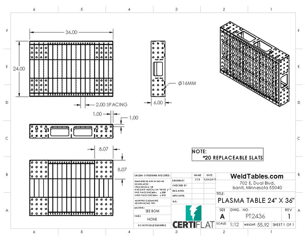 "PT2436 - CertiFlat 24""X36"" Plasma Table Heavy-Duty Modular DIY"
