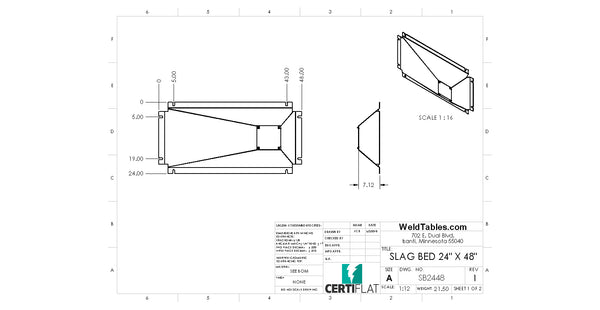 "Slag Bed for CertiFlat 24""X48"" Plasma Table"