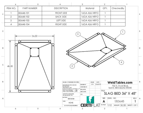 "Slag Bed for CertiFlat 36""X48"" Plasma Table"