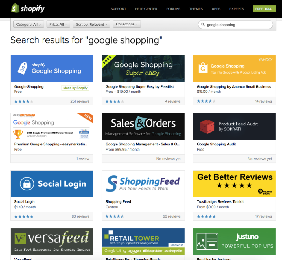 Shopify apps screenshot